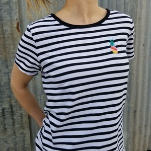 Old Navy | striped embroidered pineapple tee